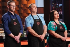 "MASTERCHEF: L-R: Contestants Evan, Kenny and Deanna in the ""Gordon's Mystery Box"" episode of MASTERCHEF airing Tuesday, June 12 (8:00-9:00PM ET/PT) on FOX. © 2019 FOX MEDIA LLC. CR: Greg Gayne / FOX."