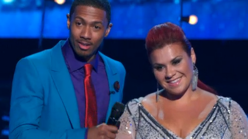 Nick Cannon & Deanna hearing what the judges had to say on 'America's Got Talent'.